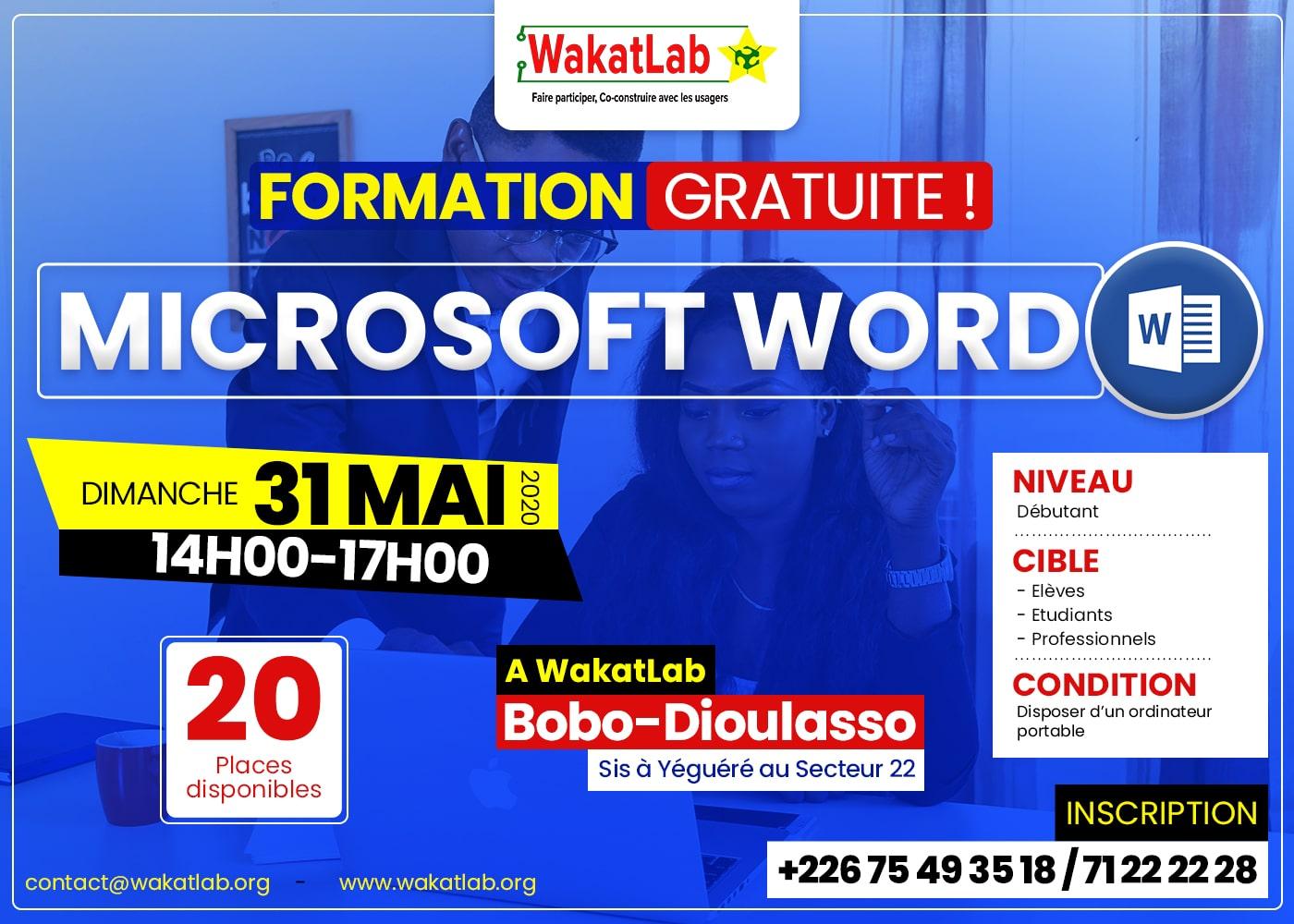 Formation gratuite en Bureautique: Word